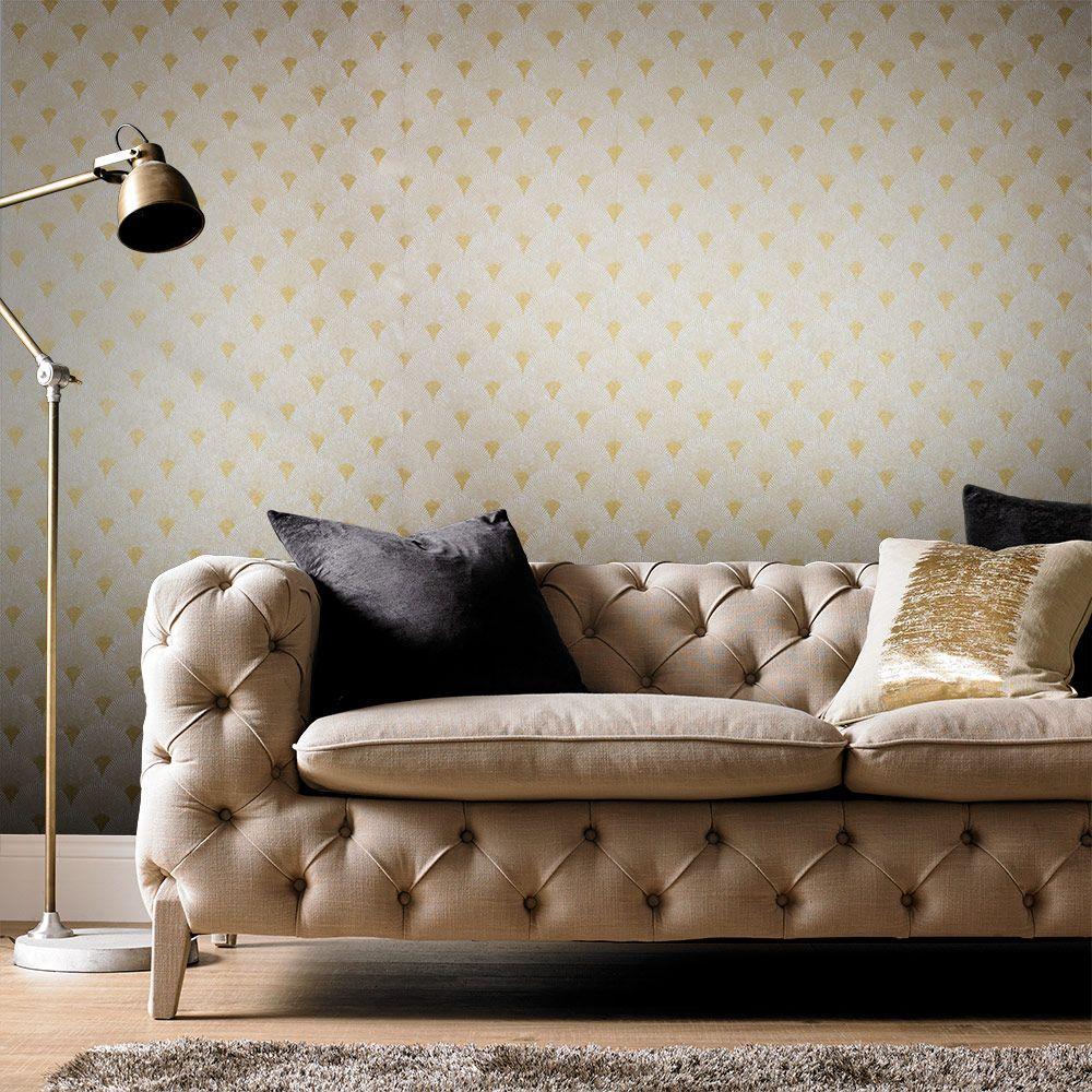 Fan Wallpaper - Gold / Pearl - by Graham & Brown