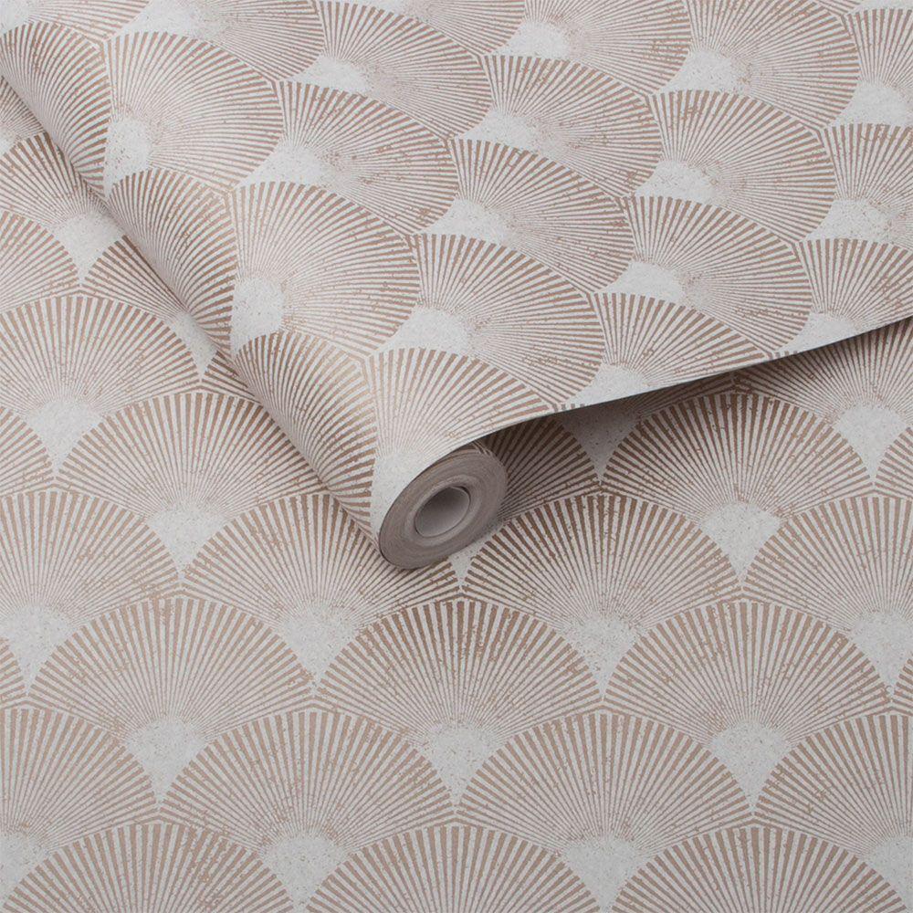 Fan Wallpaper - Rose Gold - by Graham & Brown