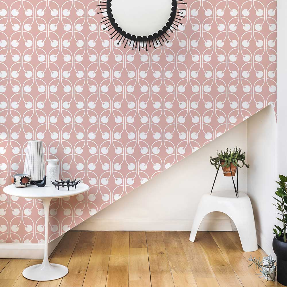 Cherry Wallpaper - Blush Pink - by Layla Faye