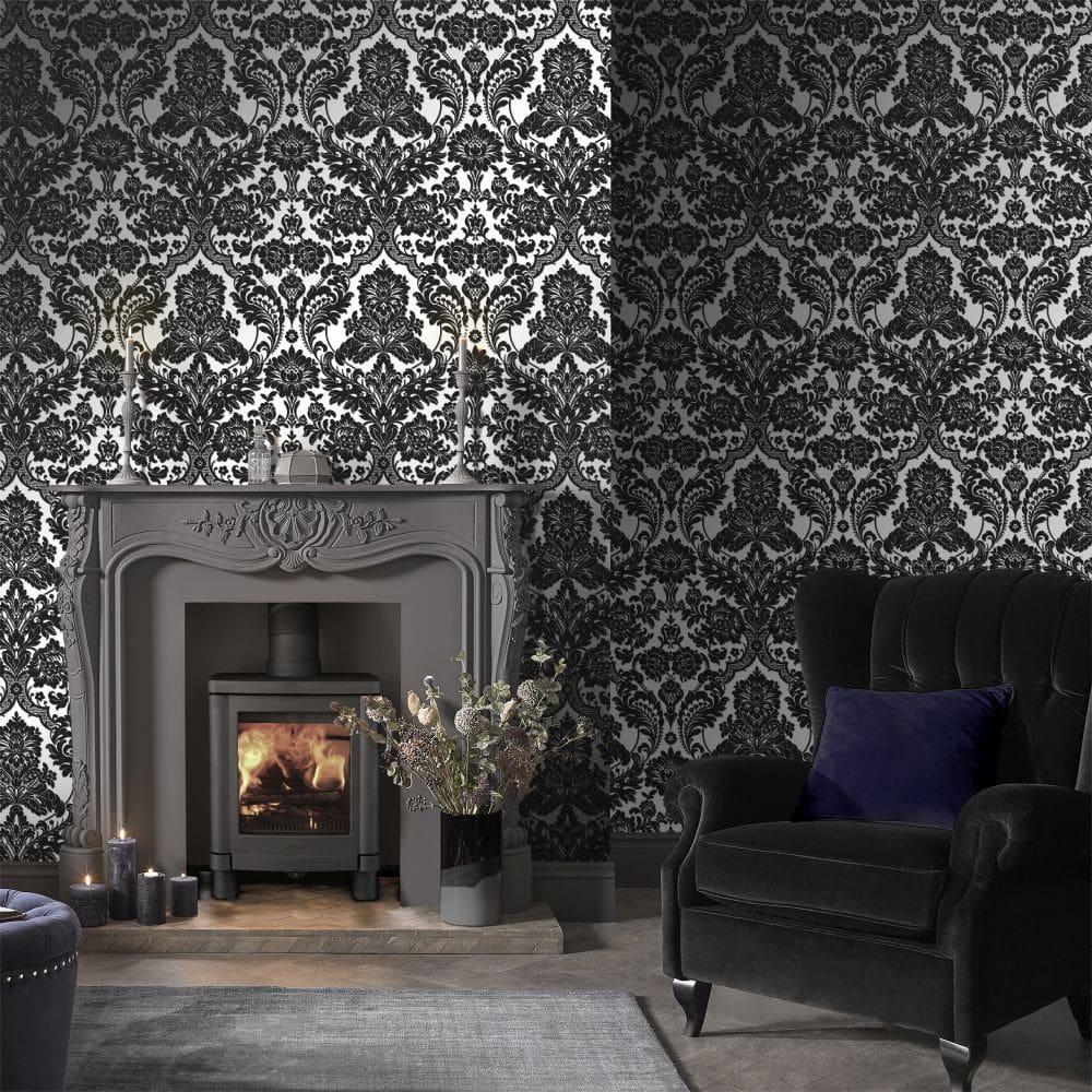 Gothic Damask Flock Wallpaper - Black / Silver - by Graham & Brown