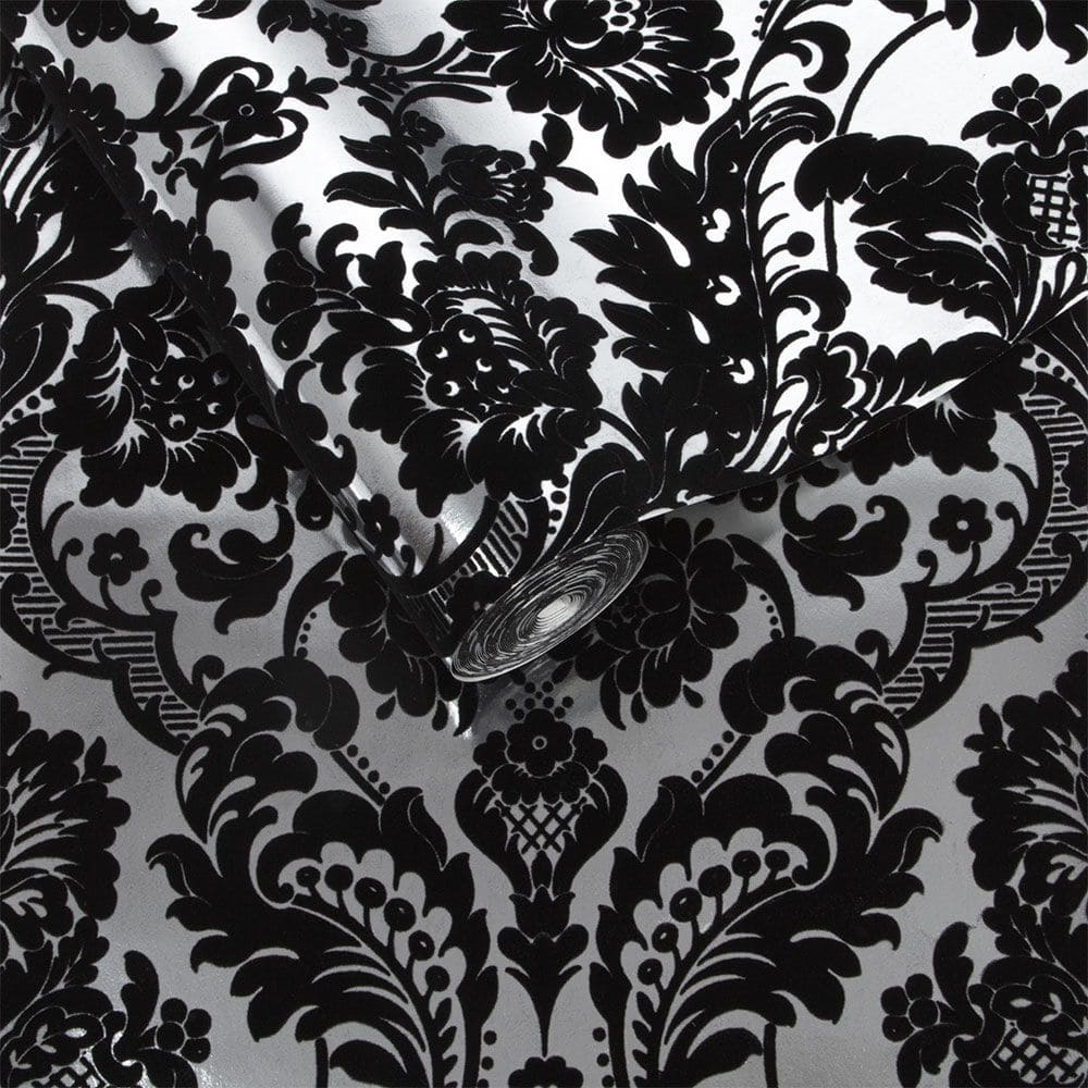 Graham & Brown Gothic Damask Flock Black / Silver Wallpaper - Product code: 104562