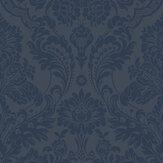 Graham & Brown Gothic Damask Flock Cobalt Wallpaper - Product code: 104563