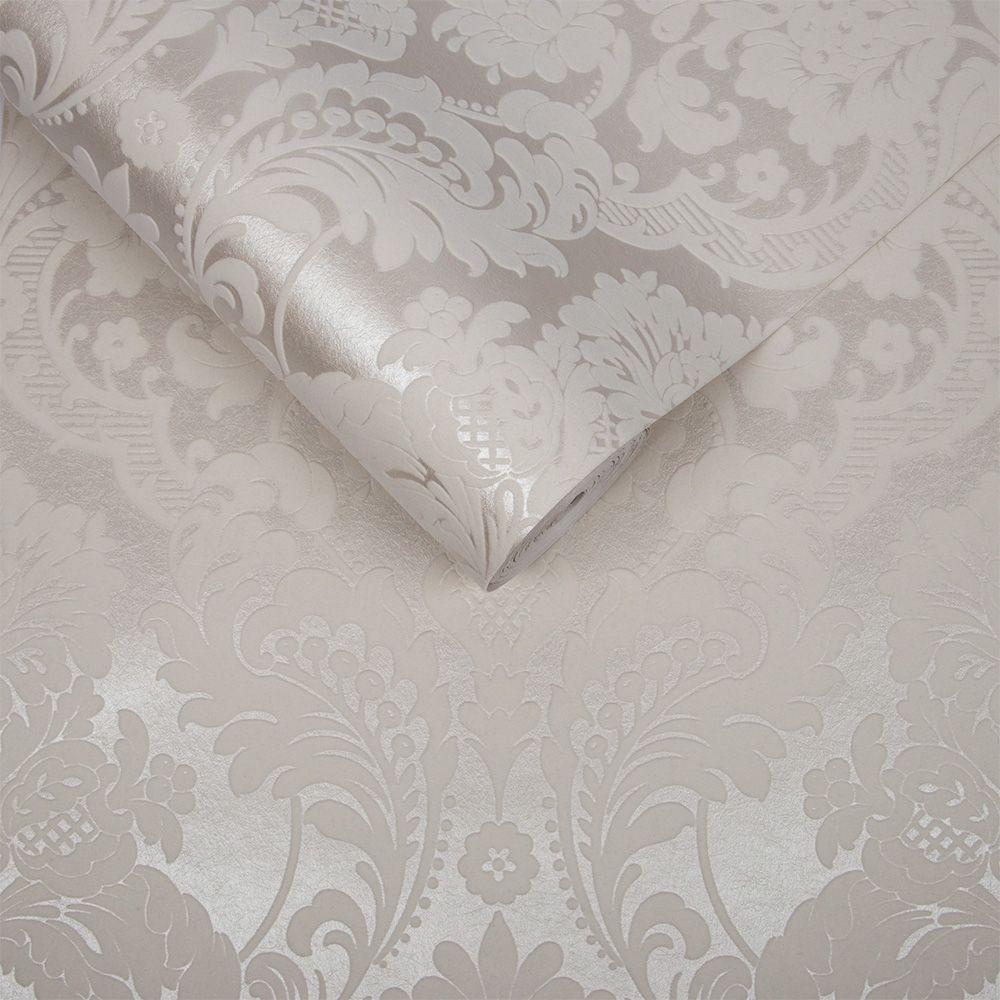 Graham & Brown Gothic Damask Flock White Wallpaper - Product code: 104565