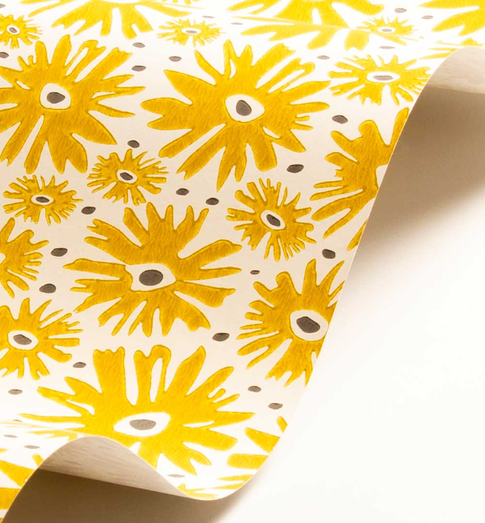 Daisy Wallpaper - Mustard - by Layla Faye