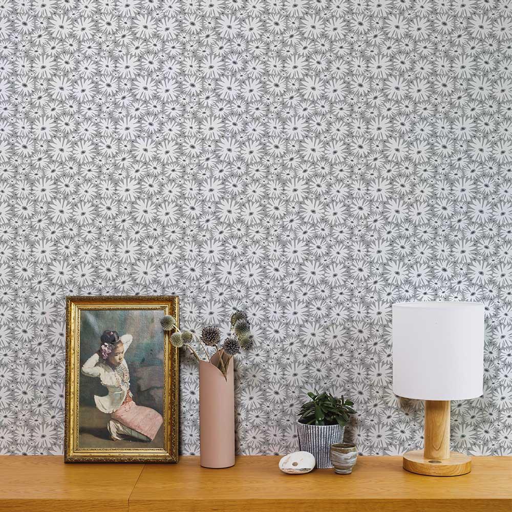 Layla Faye Daisy Misty Grey Wallpaper - Product code: LF1077