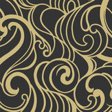 Graham & Brown Hula Swirl Black / Gold Wallpaper - Product code: 105273