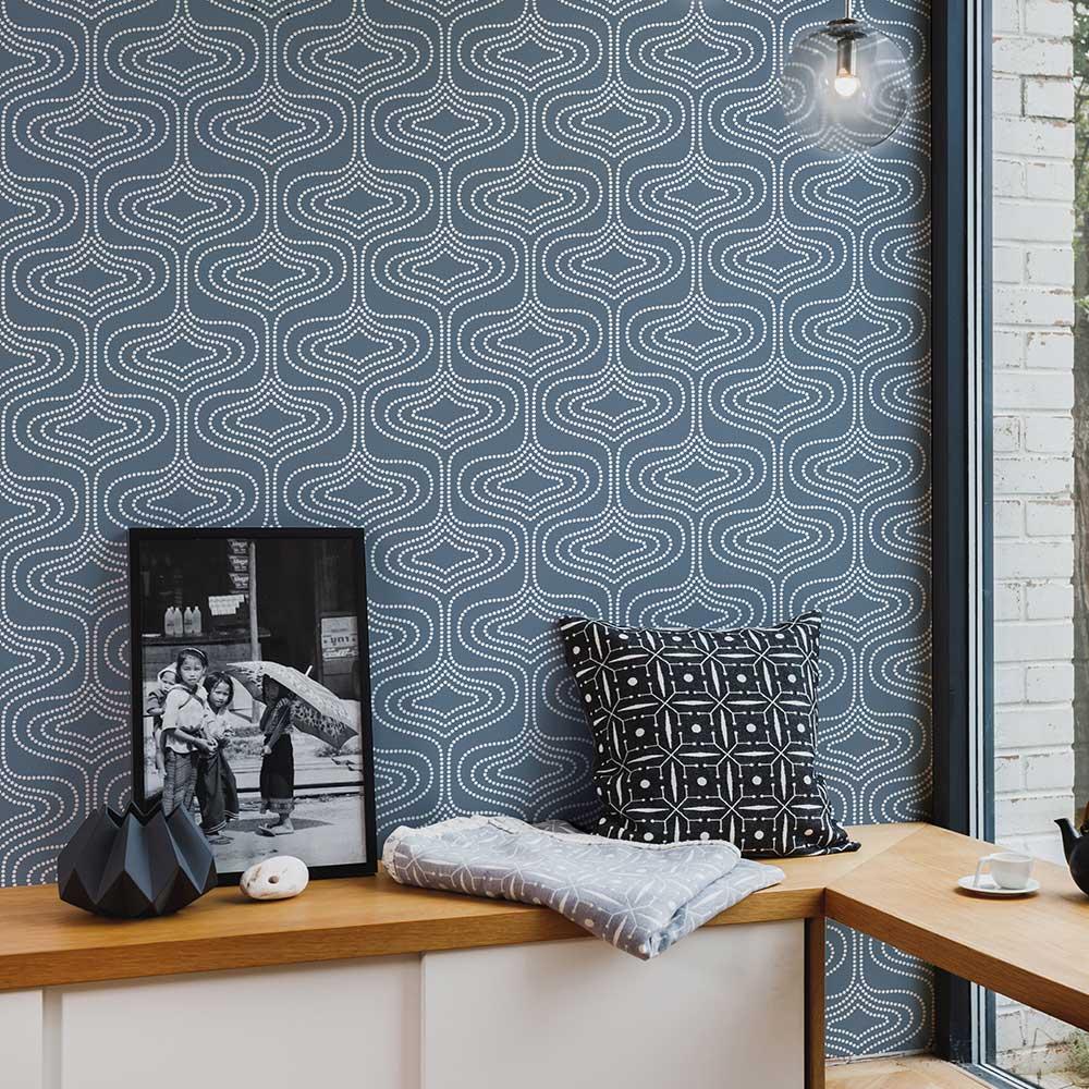 Layla Faye Whistle Dots Deep Marine Wallpaper - Product code: LF1080