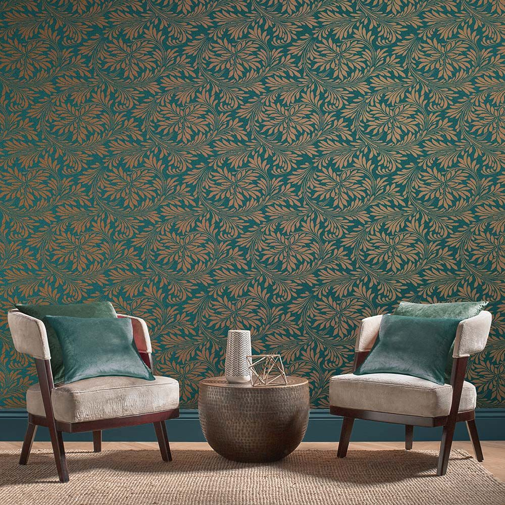 Graham & Brown Forest Spiced Teal Wallpaper - Product code: 105279