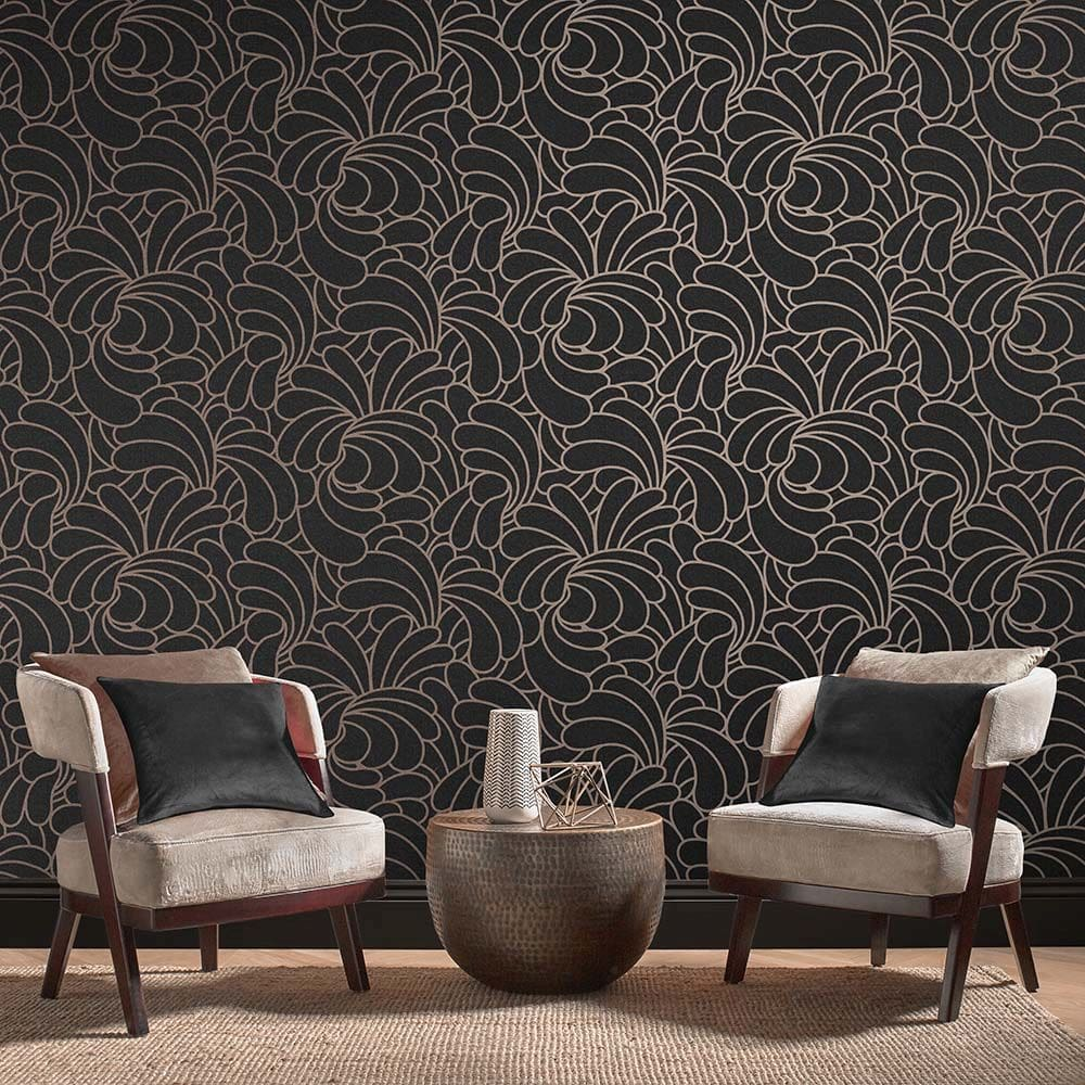 Graham & Brown Bananas Black / Rose Gold Wallpaper - Product code: 105280