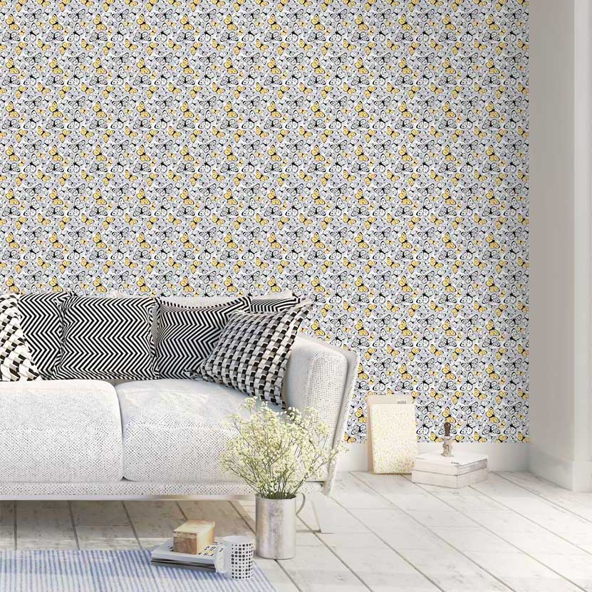 Hattie Lloyd Free to Fly Lemon Whirlwind Wallpaper - Product code: HLFTF07