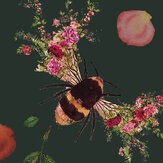 Hattie Lloyd Bee Bloom Velvet Green Wallpaper - Product code: HLBBG3
