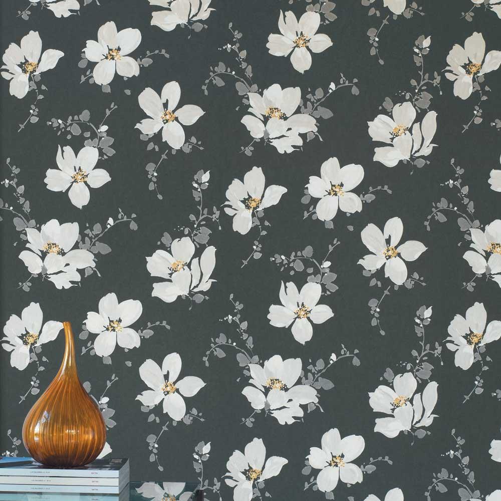 Sabatini Wallpaper - Charcoal - by Casadeco