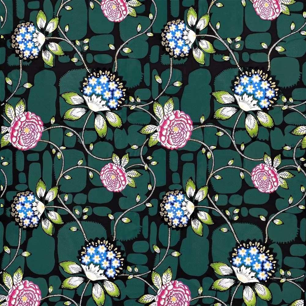 Les Rosales  Fabric - Bleu Paon - by Christian Lacroix