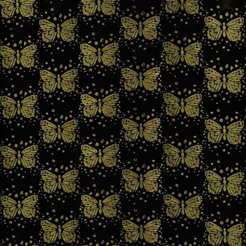 Les Messagers Fabric - Black and Gold - by Christian Lacroix