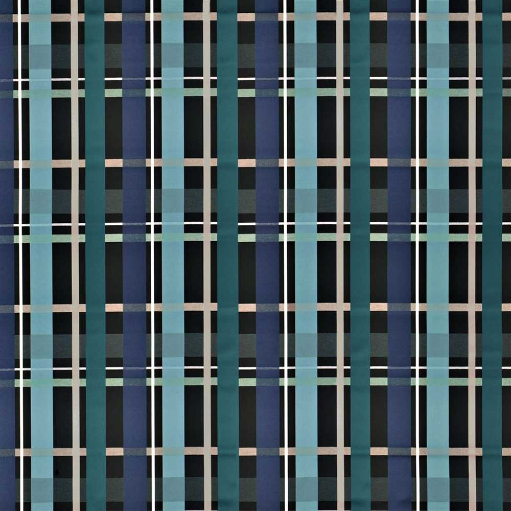 L'Entrelac Fabric - Blue and Black - by Christian Lacroix