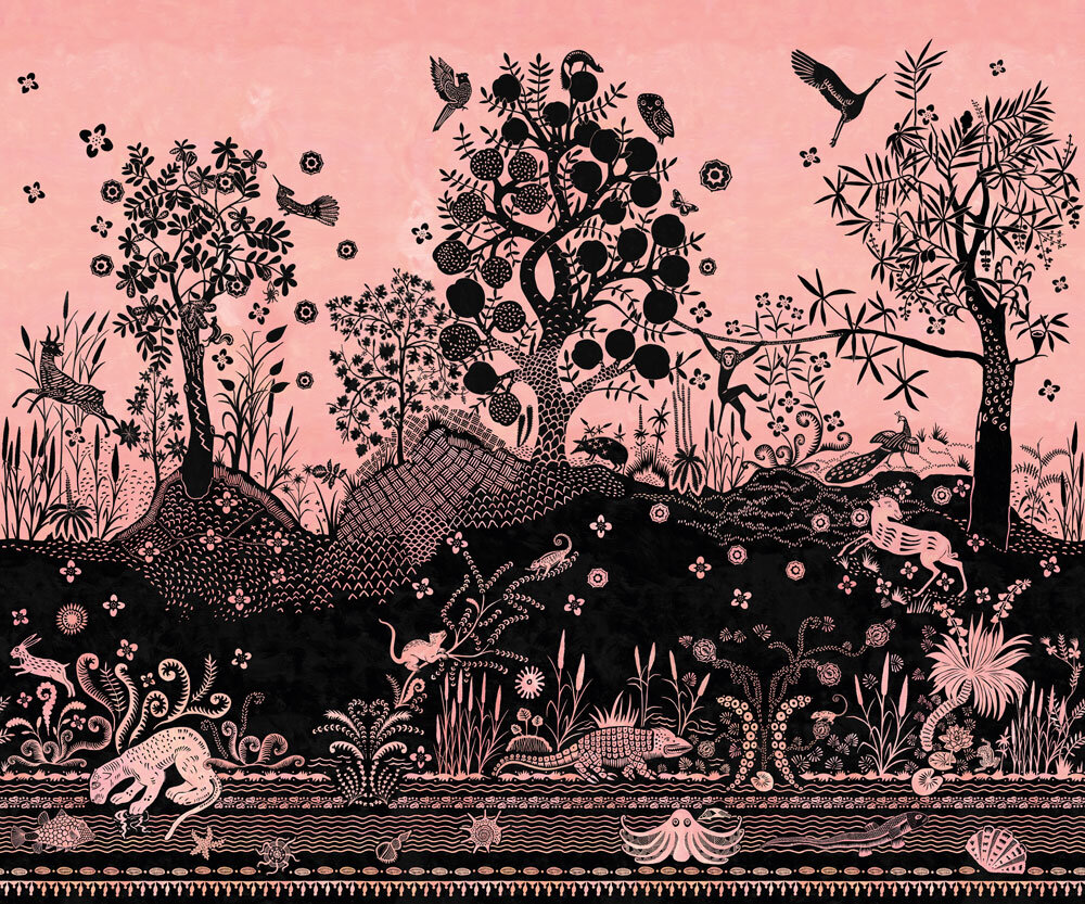 Bois Paradis Mural - Pink and Black - by Designers Guild