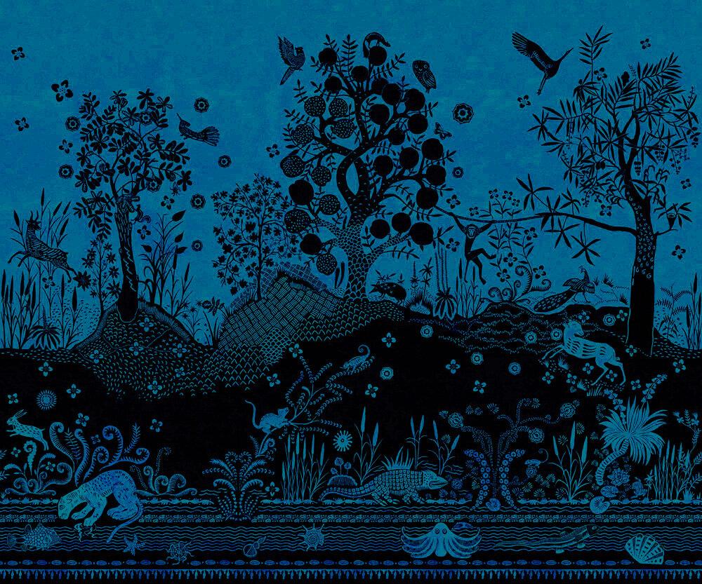 Bois Paradis Mural - Bleu Nigelle - by Designers Guild