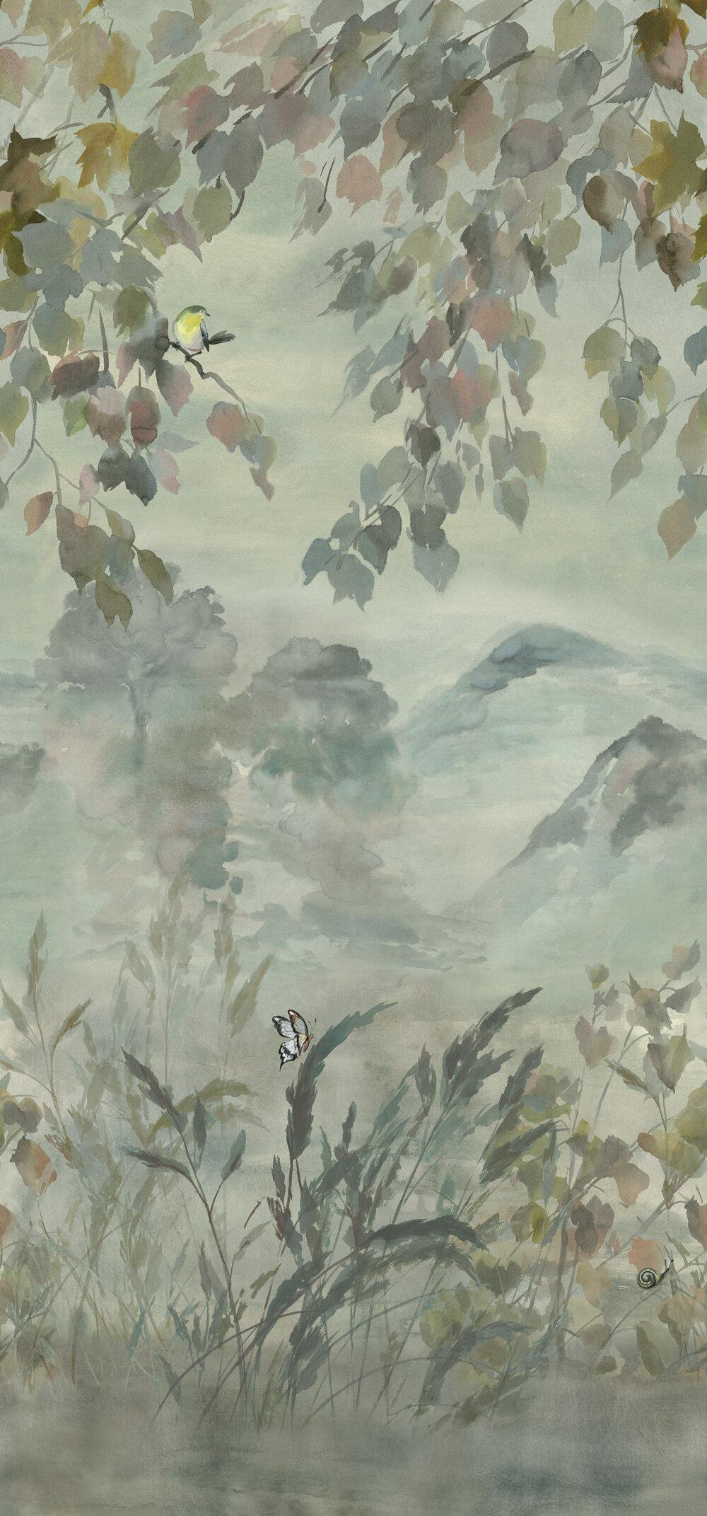 Miyako Scene 1 Mural - Dove - by Designers Guild