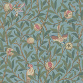 Morris Bird & Pomegranate Turquoise / Coral Wallpaper - Product code: 216713