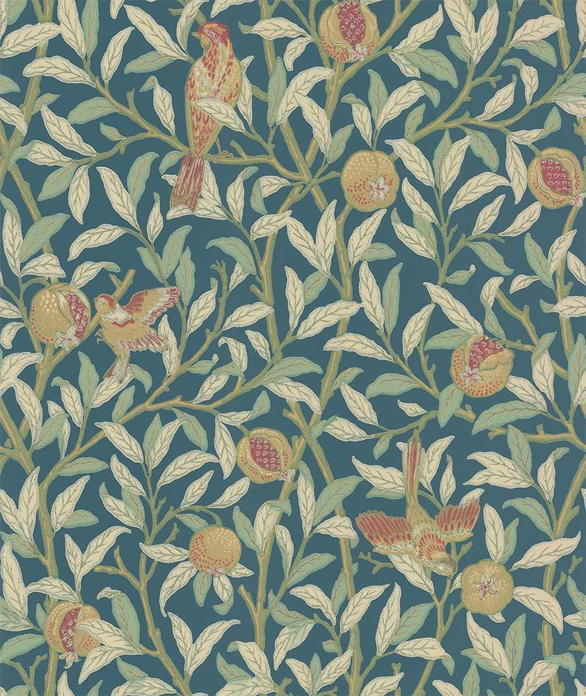 Morris Bird & Pomegranate Blue / Mint Wallpaper - Product code: 216715