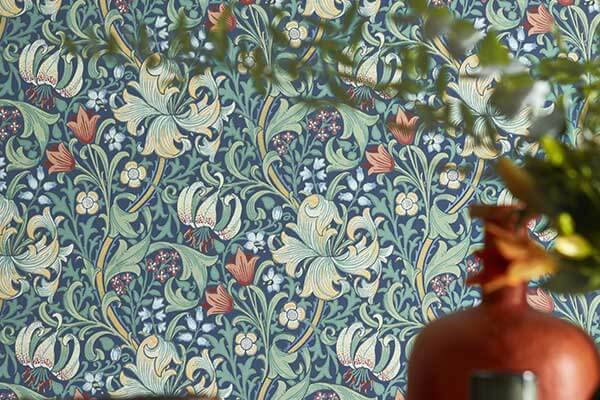 Morris Golden Lily Indigo Wallpaper - Product code: 216716