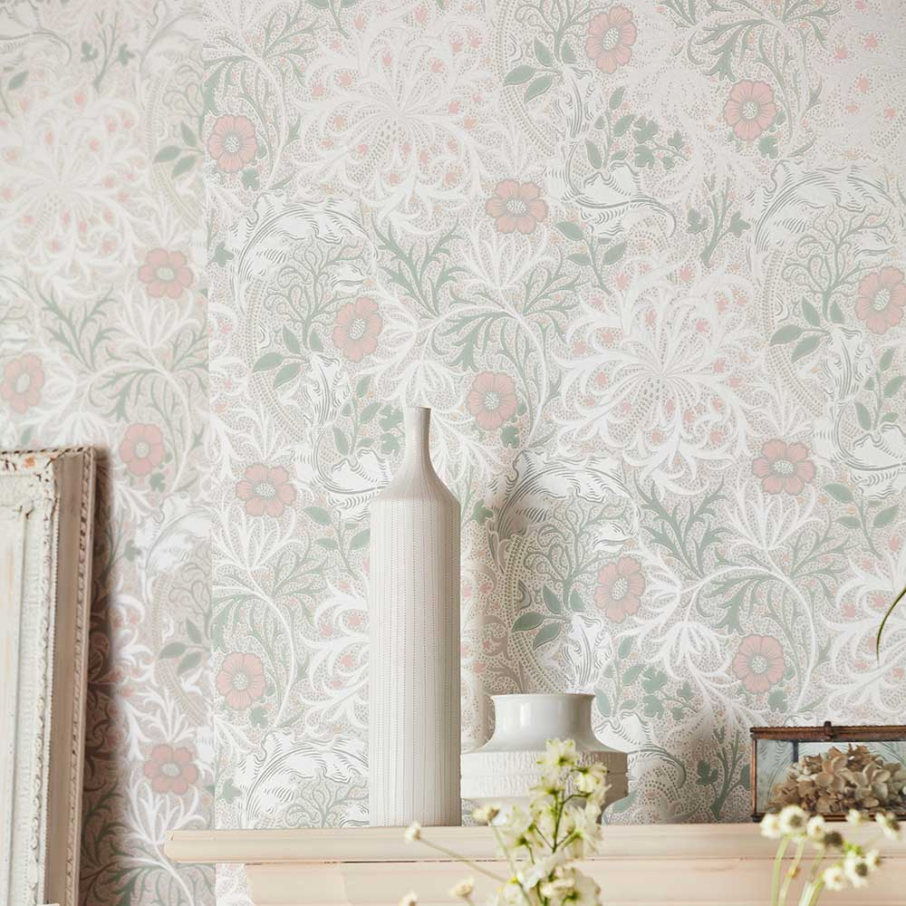 Morris Seaweed Wallpaper - Gilver /Faded Sea Pink - by Morris