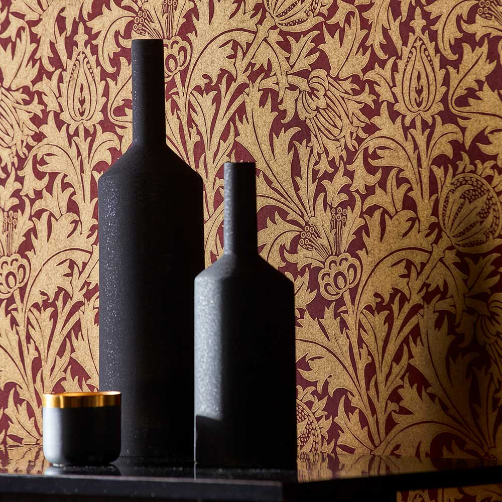 Morris Thistle Claret / Gold Wallpaper - Product code: 216737