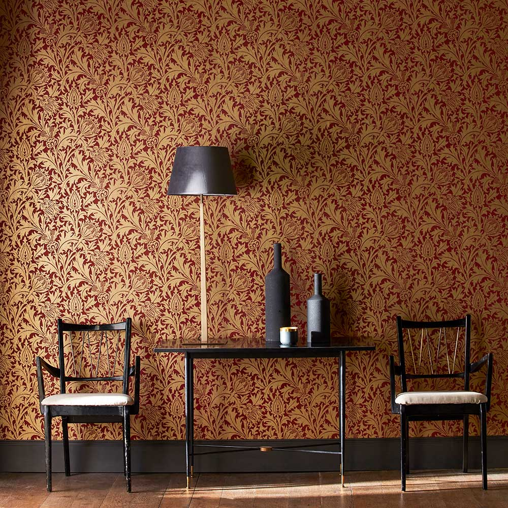 Thistle Wallpaper - Claret / Gold - by Morris