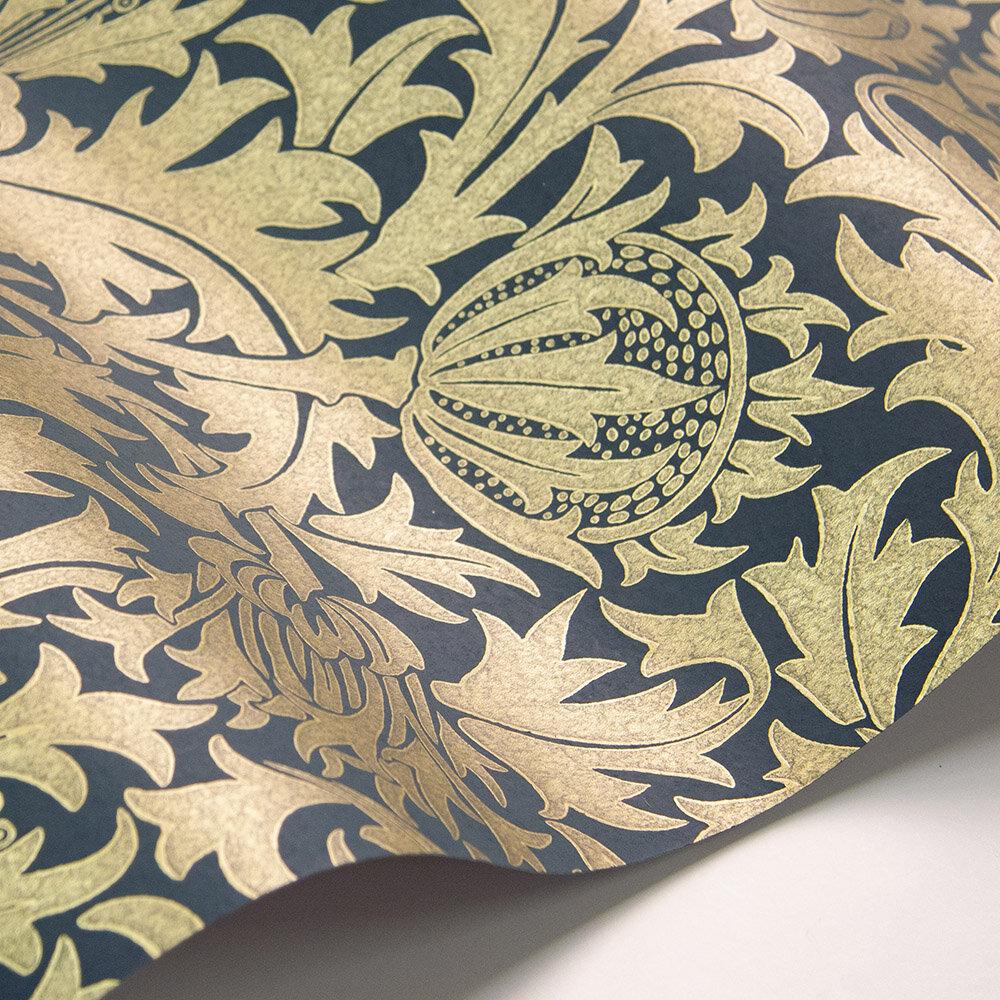 Thistle Wallpaper - Newby Green /Gilt - by Morris