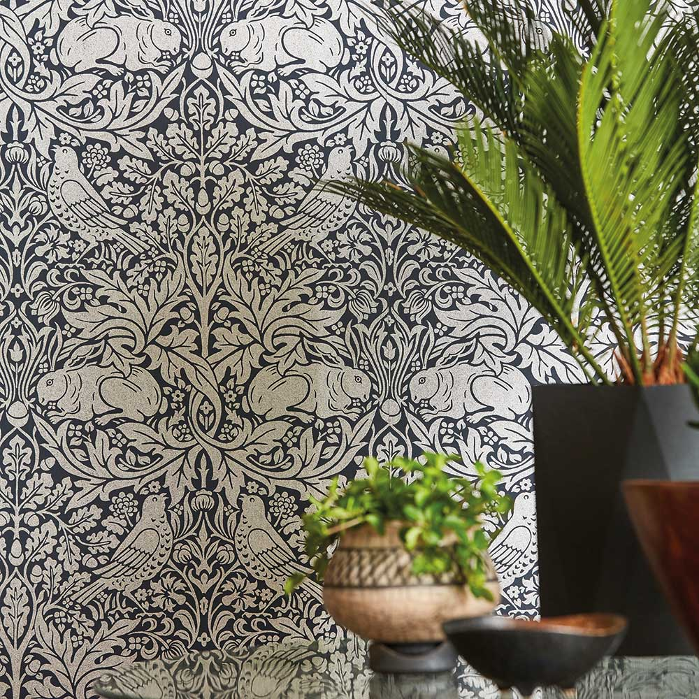 Morris Brer Rabbit Ink / Silver Wallpaper - Product code: 216741