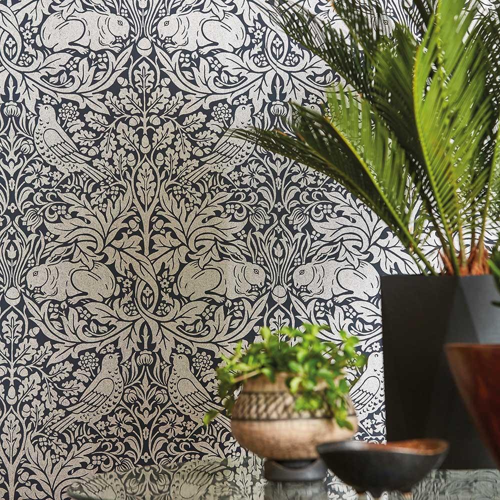 Brer Rabbit Wallpaper - Ink / Silver - by Morris