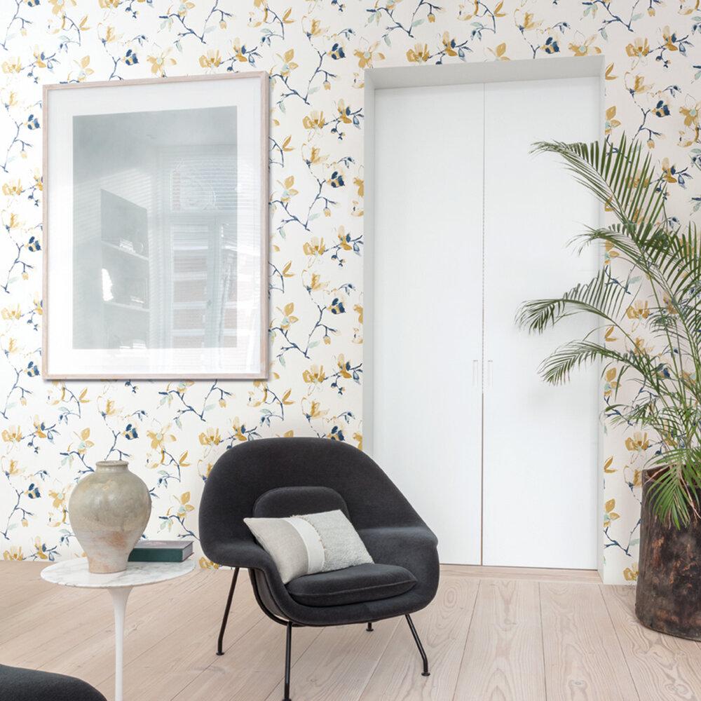 Laetitia Wallpaper - Teal - by Zoom by Masureel
