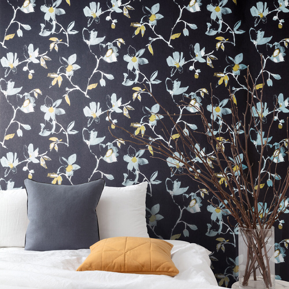 Laetitia Wallpaper - Sapphire - by Zoom by Masureel