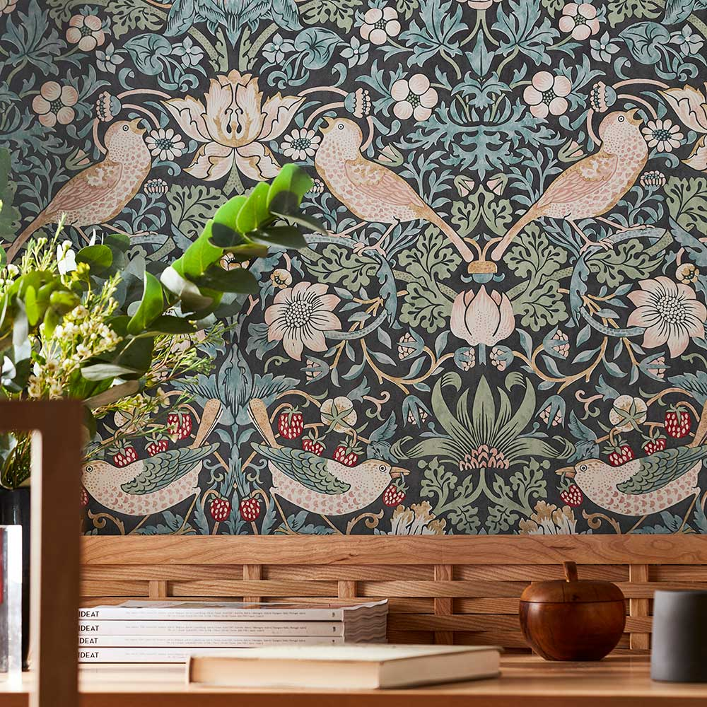 Morris Strawberry Thief Ink Wallpaper - Product code: 216753