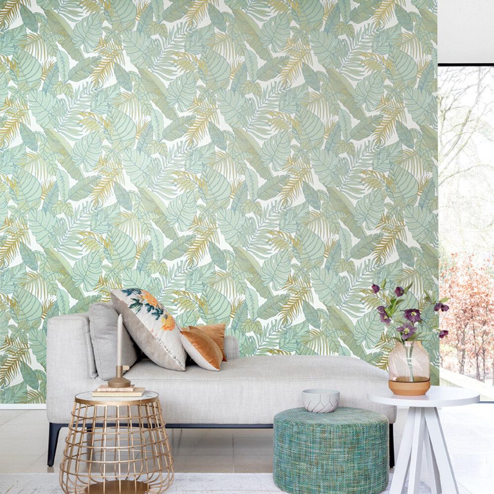Tropical Wallpaper - Teal - by Zoom by Masureel