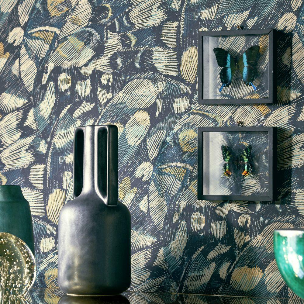 Lamina Wallpaper - Ink / Marine - by Harlequin