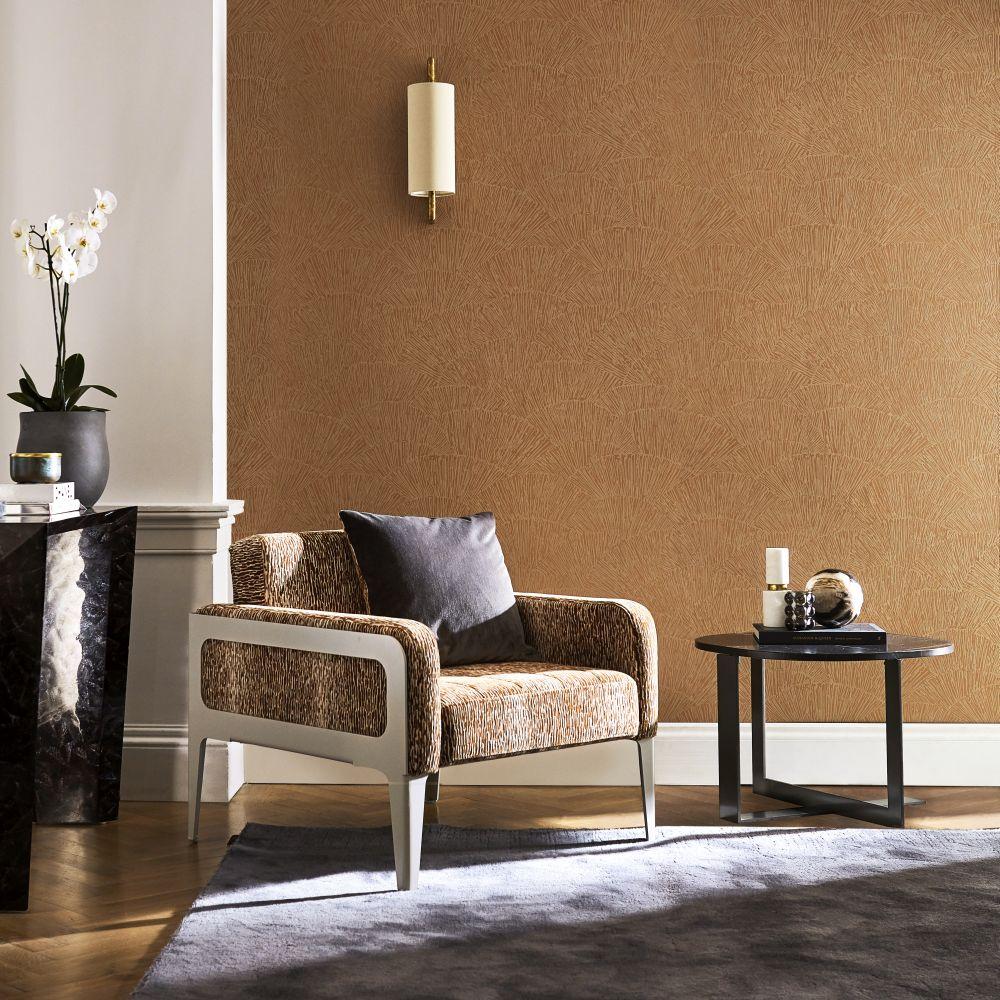 Tessen Wallpaper - Copper - by Harlequin