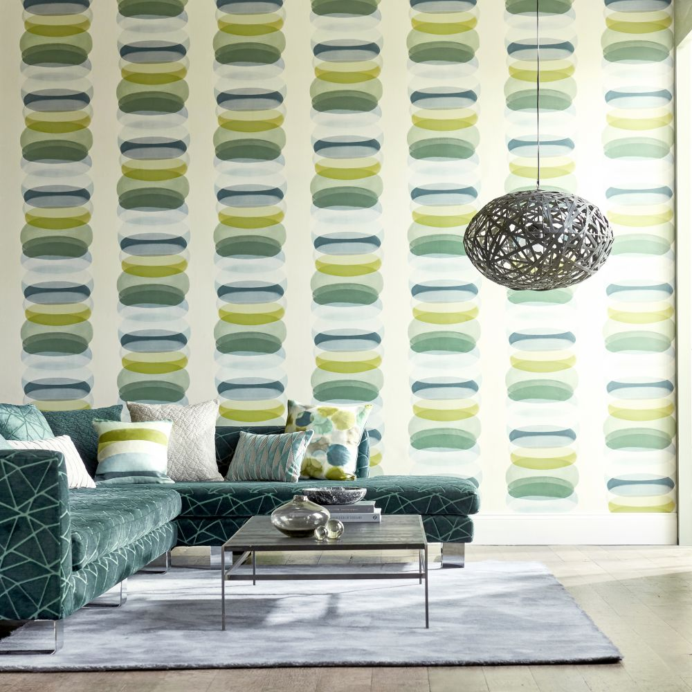 Elliptic Wallpaper - Emerald - by Harlequin