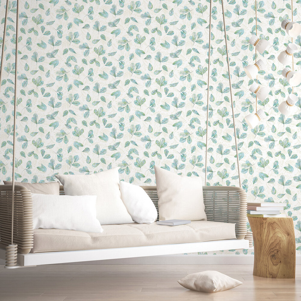 Leaves Wallpaper - Teal - by Galerie