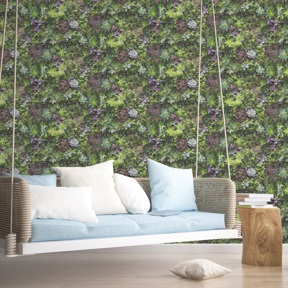 Galerie Succulents Vivid Green and Pink Wallpaper - Product code: 7322