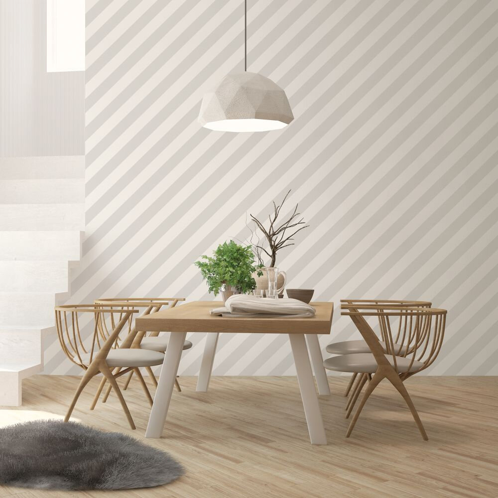 Large Diagonal Stripe Wallpaper - Grey - by Galerie