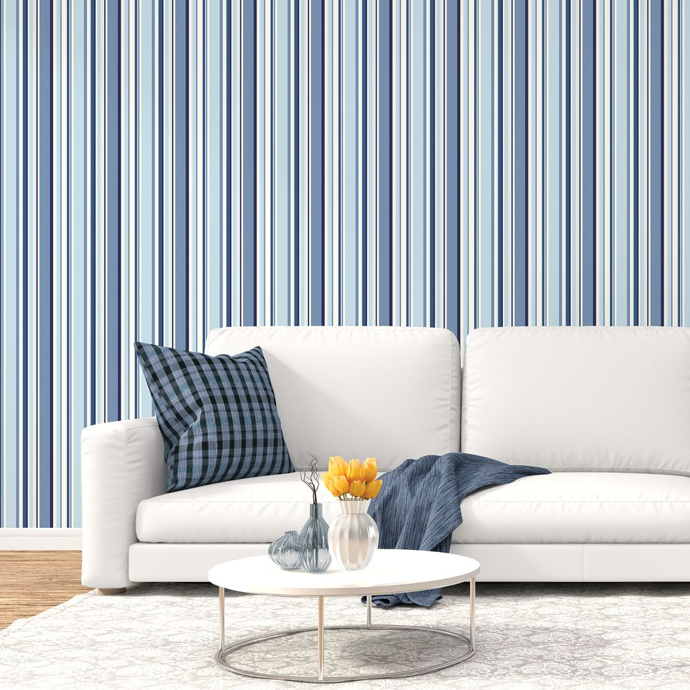 Multi Stripe Wallpaper - Navy / Blue - by Galerie