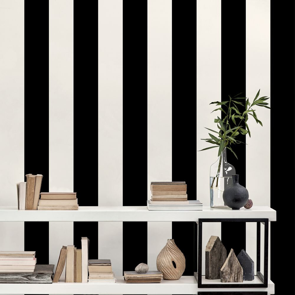Galerie Wide Stripe Pearl / Black Wallpaper - Product code: SY33937