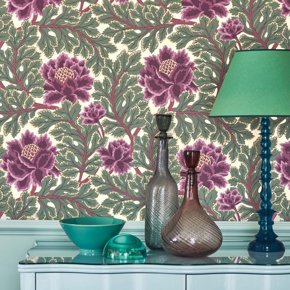 Cole & Son Aurora Mulberry / Sage / Parchment Wallpaper - Product code: 116/1001