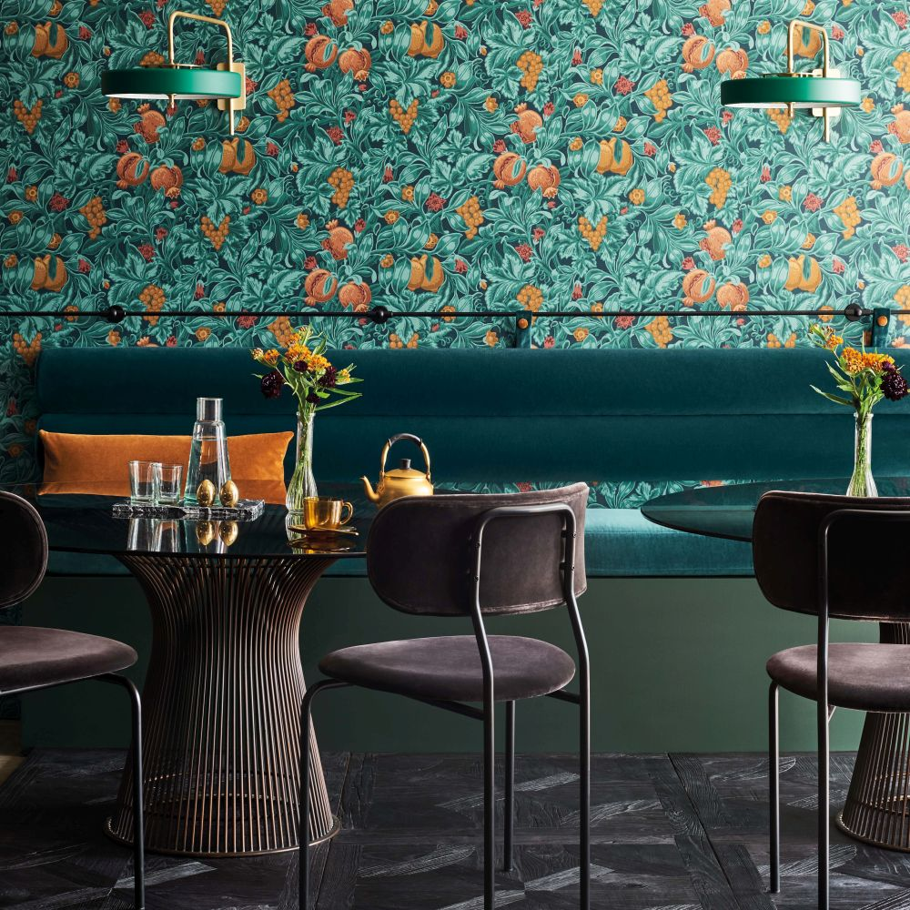 Cole & Son Vines of Pomona Burnt Orange / Teal / Petrol Wallpaper - Product code: 116/2005