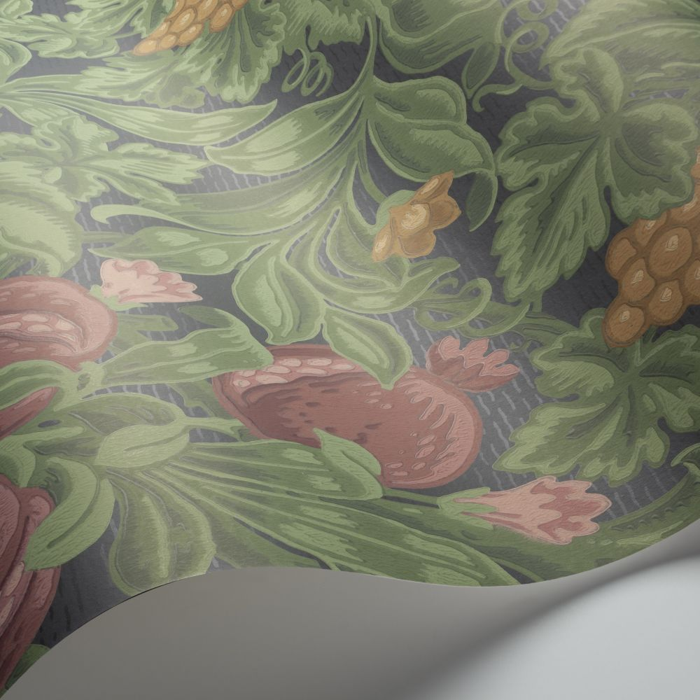 Vines of Pomona Wallpaper - Crimson / Olive / Charcoal - by Cole & Son