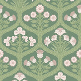 Cole & Son Floral Kingdom Ballet Slipper / Leaf Green / Forest Green Wallpaper - Product code: 116/3009