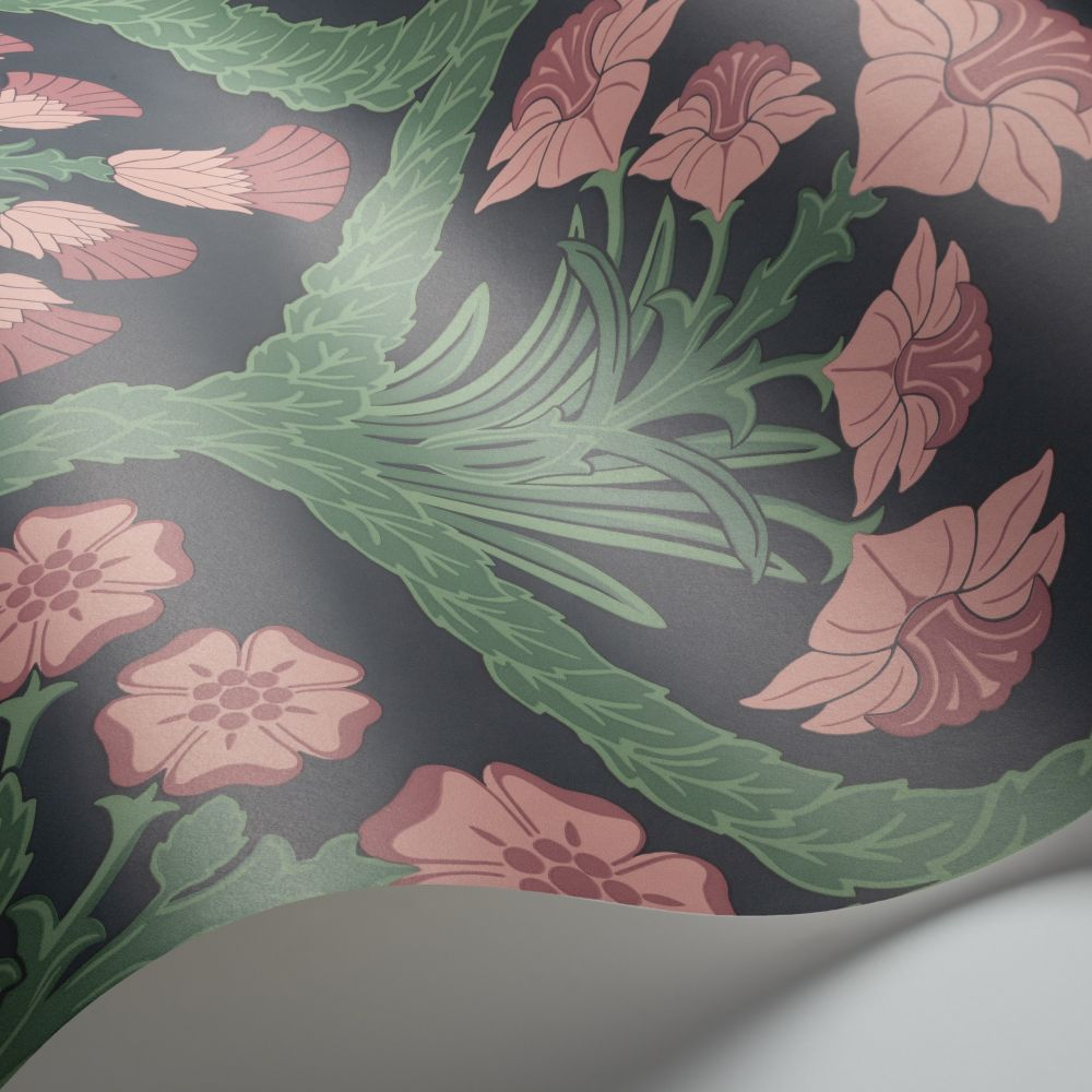 Cole & Son Floral Kingdom Rose / Forest Green / Charcoal Wallpaper - Product code: 116/3010