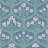Cole & Son Floral Kingdom Lilac / Teal / Denim Wallpaper - Product code: 116/3011