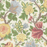 Cole & Son Midsummer Bloom Chartreuse / Rouge / Leaf Green / Parchment Wallpaper - Product code: 116/4013